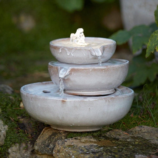 Premium Ceramic Triple Bowl Garden Water Feature with LED Light - 4 Colours - Gardenesque