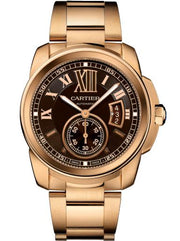 Cartier Calibre De Cartier 18k Rose Gold Brown Dial W7100040 - Watches R us