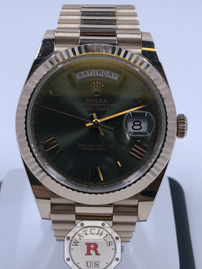 Rolex DAY-DATE 40mm Everose Gold Olive Green Dial 228235 - Watches R us