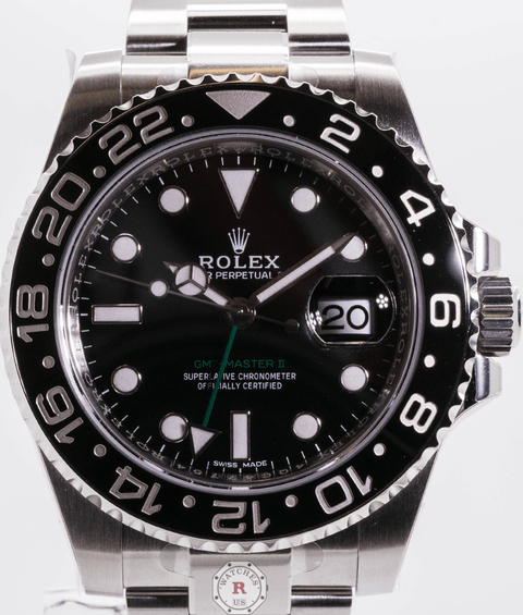 Rolex GMT-MASTER II DISCONTINUED Steel 40mm Black Dial 116710 2007 - Watches R us