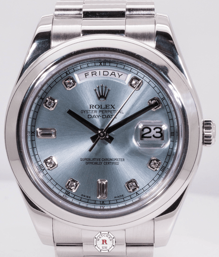 Rolex Day-Date II 218206 LC100 41mm Platinum Ice Blue Diamond Dial - Watches R us