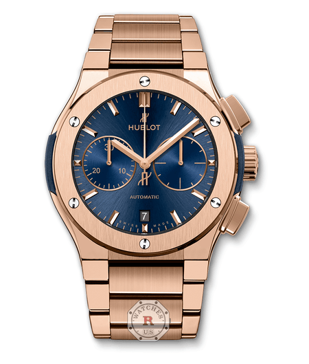 Hublot CLASSIC FUSION BLUE CHRONOGRAPH KING GOLD BRACELET 45 mm - Watches R us