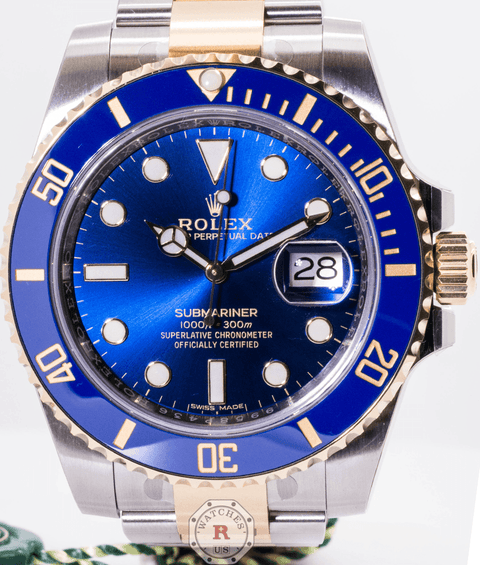 SUBMARINER DATE 40mm Steel and Yellow Gold 116613LB Blue Dial - Watches R us