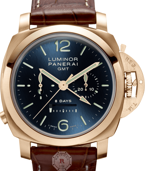 Panerai LUMINOR 1950 8 DAYS CHRONO  GMT PINK GOLD - 44MM PAM00277 - Watches R us