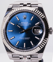 Rolex DATEJUST 41 Oystersteel and White Gold 126334 Blue Dial - Watches R us