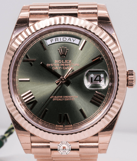 Rolex DAY-DATE 40 Oyster, 40 mm, Everose gold Olive Dial 228235 - Watches R us