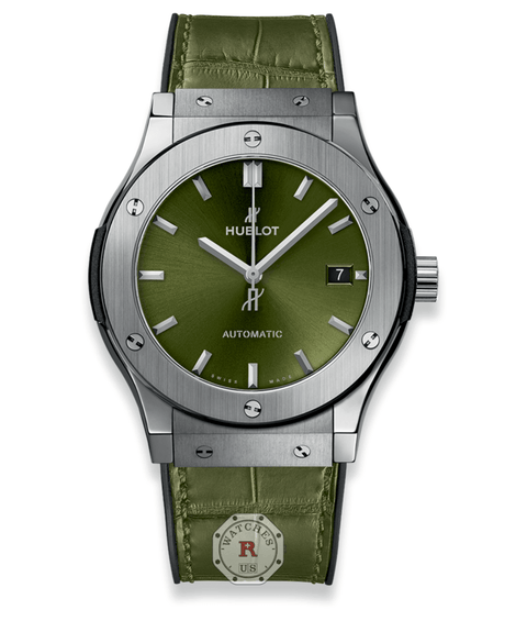 Hublot CLASSIC FUSION TITANIUM GREEN 45 mm Available Sizes : 42-38-33 mm - Watches R us