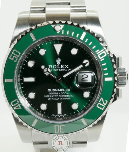 Rolex SUBMARINER DATE 40mm Steel HULK 116610LV Mint 2016 Model - Watches R us