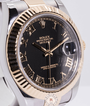Rolex Datejust II 116333 Black Roman Fluted Yellow Gold Stainless Steel Oyster Date - Watches R us
