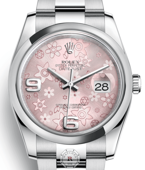 Rolex DATEJUST Steel 36mm Pink Floral Motif 116200 - Watches R us