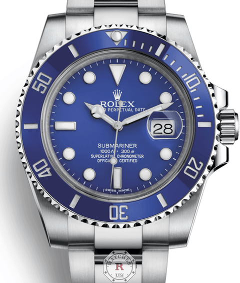 Rolex Submariner Blue Index Dial 18k White Gold 116619LB - Watches R us