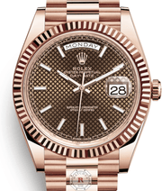 Rolex DAY-DATE 40 Everose Gold Chocolate diagonal motif 228235 - Watches R us