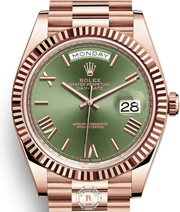 Rolex DAY-DATE 40 Everose Gold Olive Green Dial 228235 - Watches R us