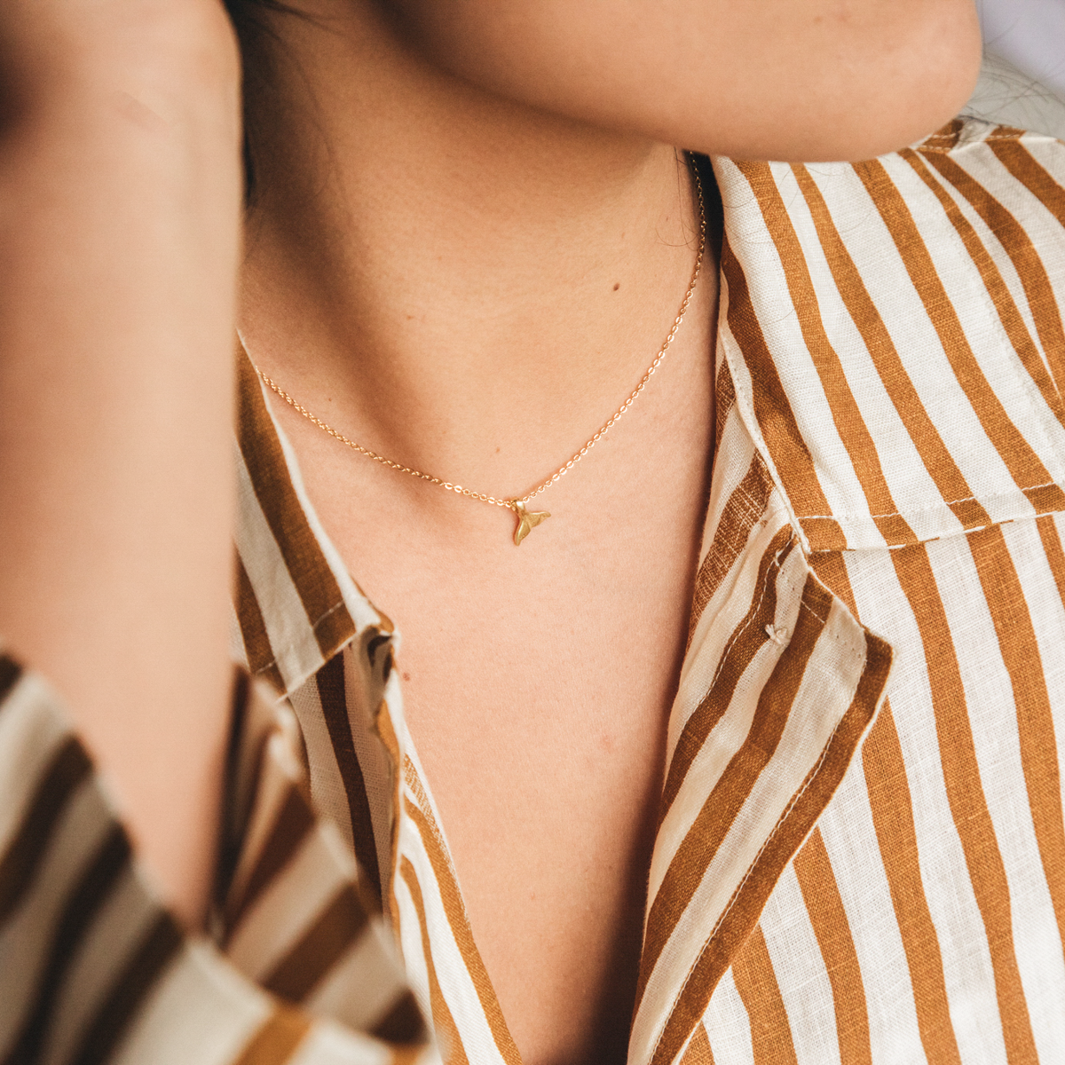 Asri Whale Tail Plated Necklace - Pineapple Island