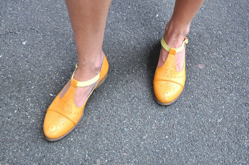 Yellow Mary Janes by JuliaBoShoes