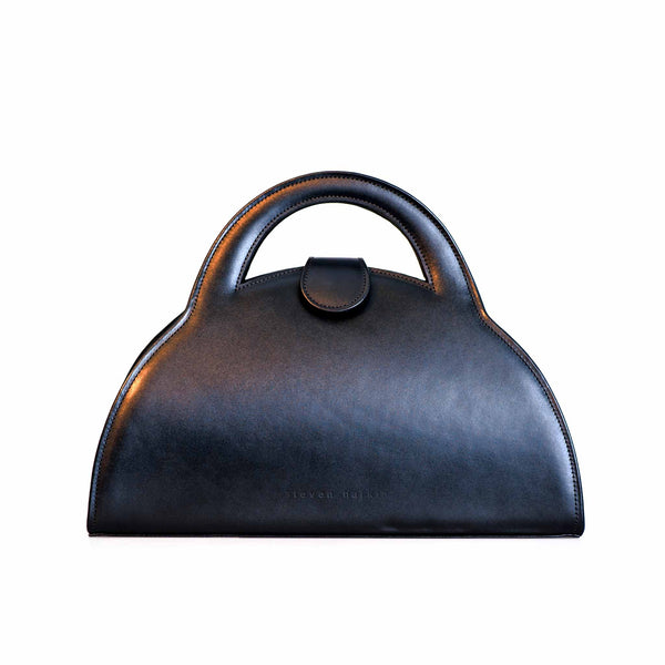Blue Leather Top Handle Bag – The Barbara