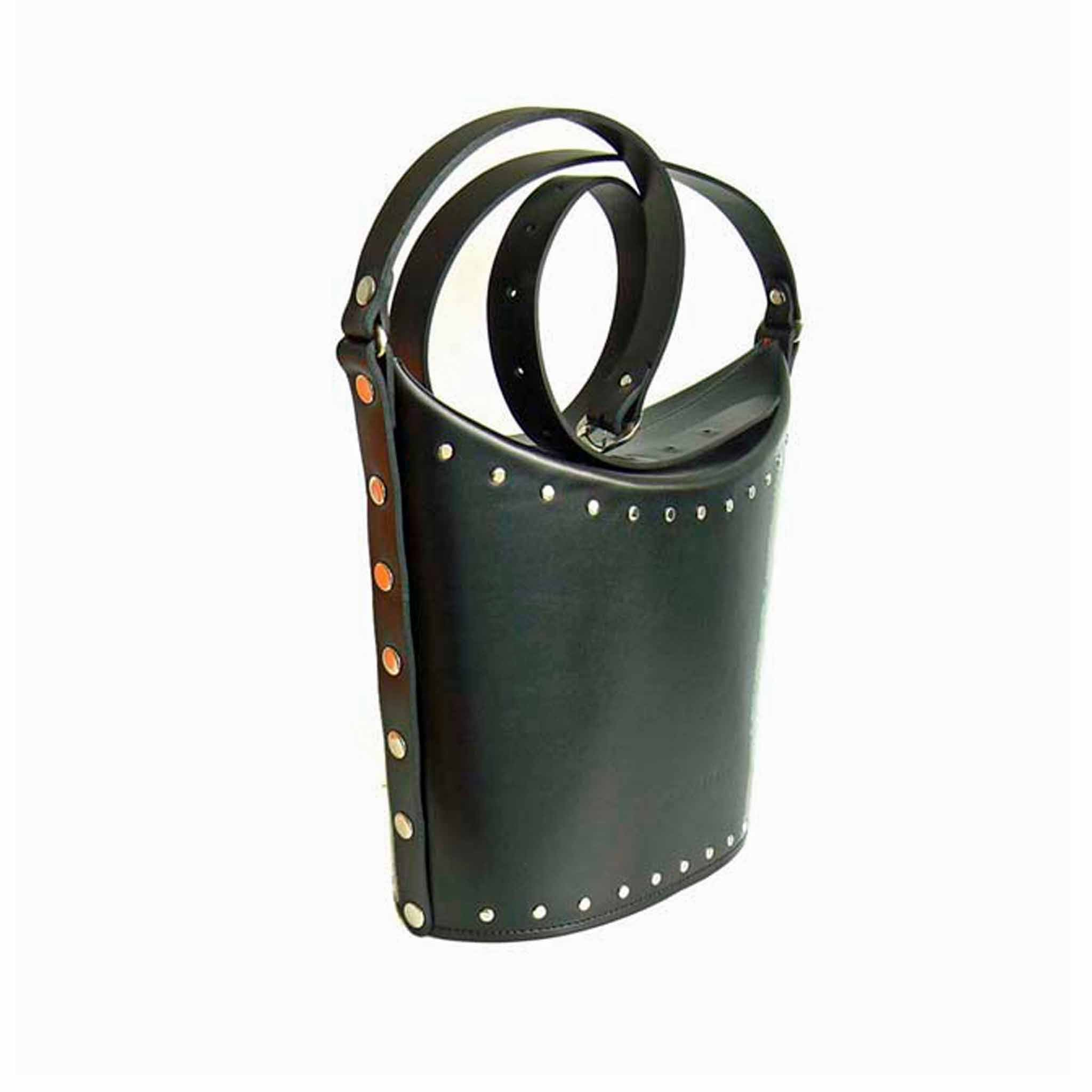 black bucket bag with studs