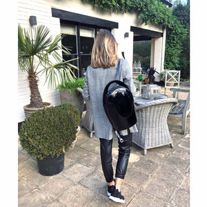 Glossy Black Leather Backpack
