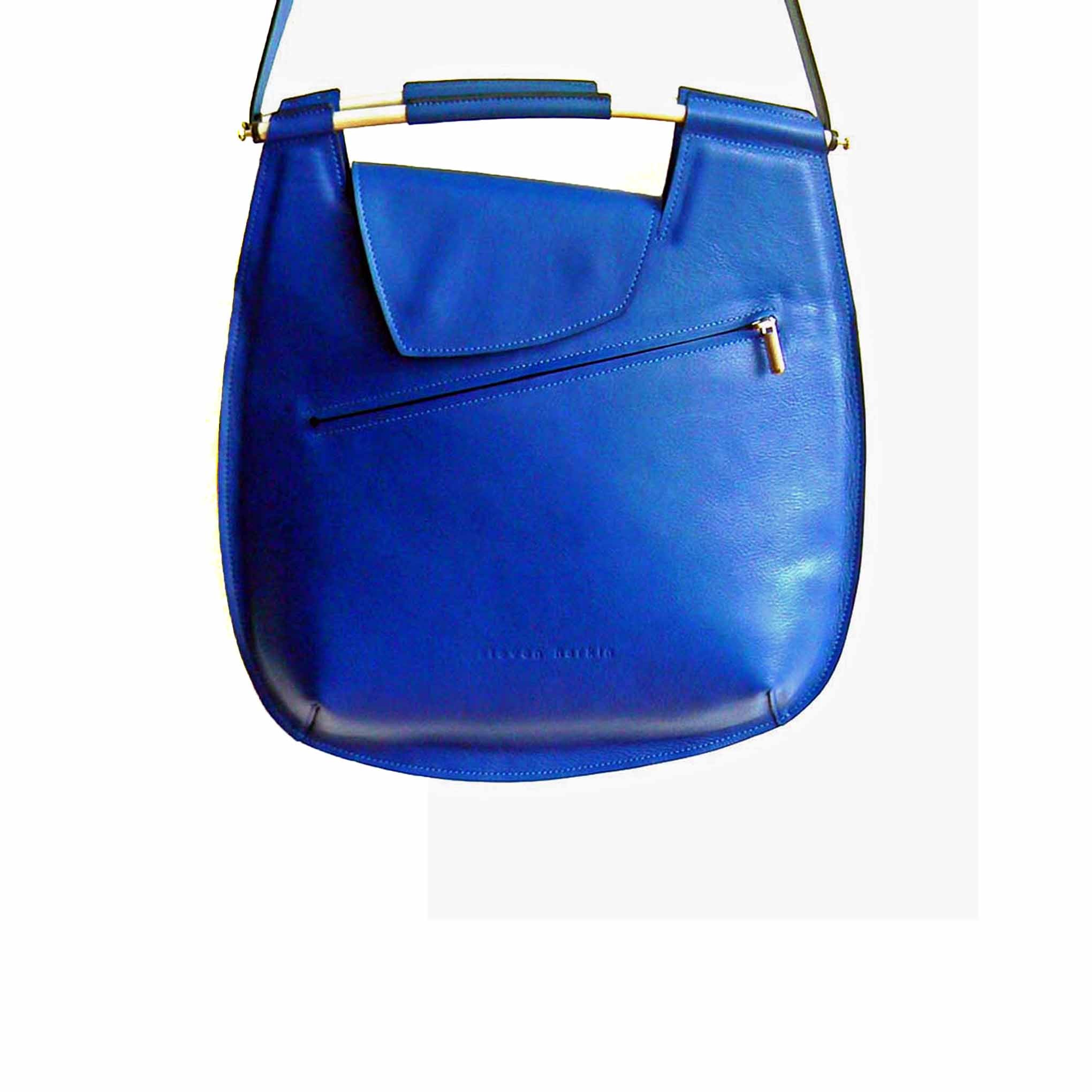 Large Blue Shoulder Bag with Metal Handle