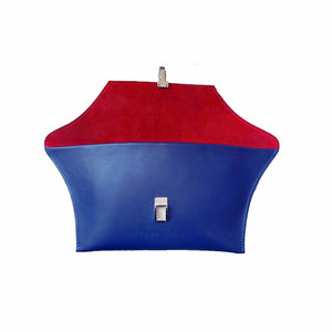 blue leather clutch with red lining