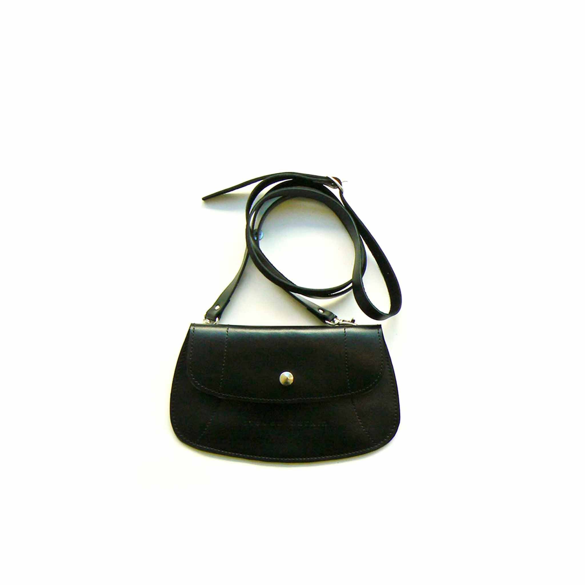 flat black purse with shoulder strap