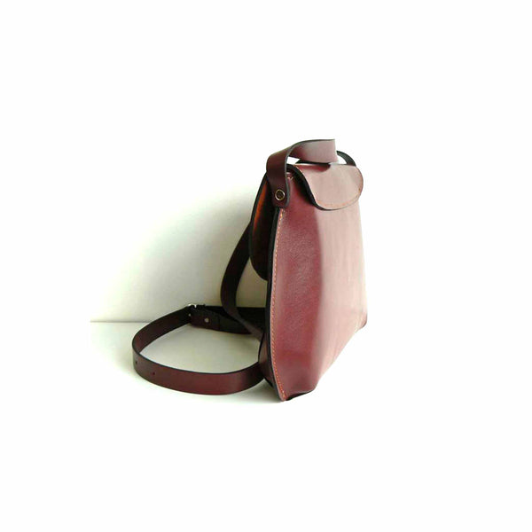 Burgundy Leather Cross Body Bag
