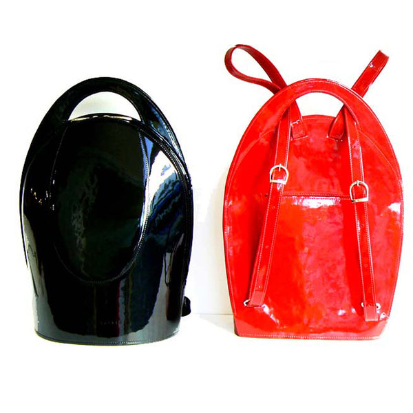 Glossy Red Leather Backpack