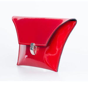 patent red clutch bag