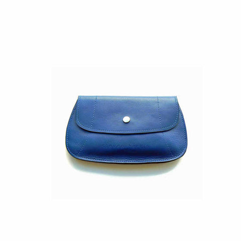 Blue leather purse