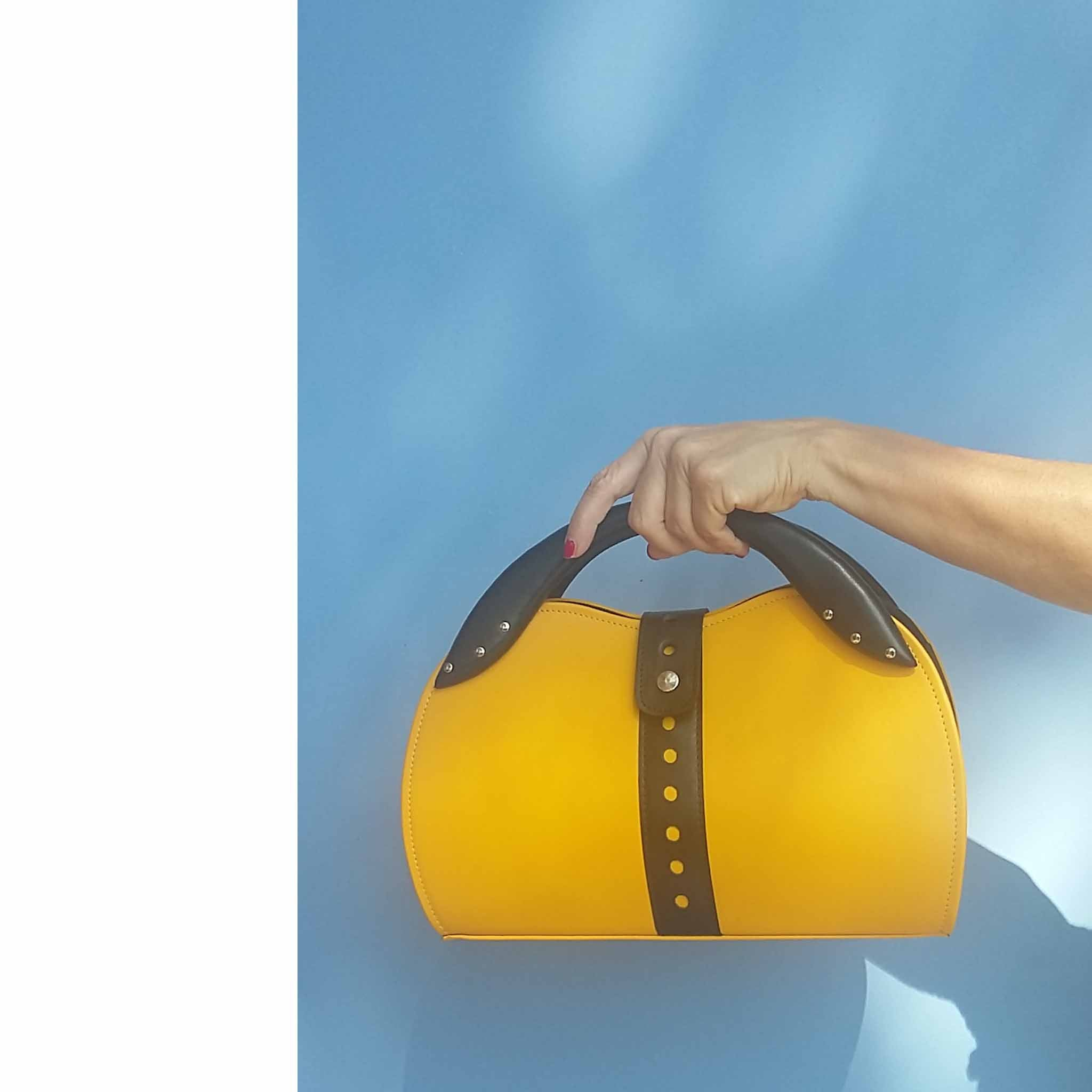 Yellow Top Handle Bag with Black Belt