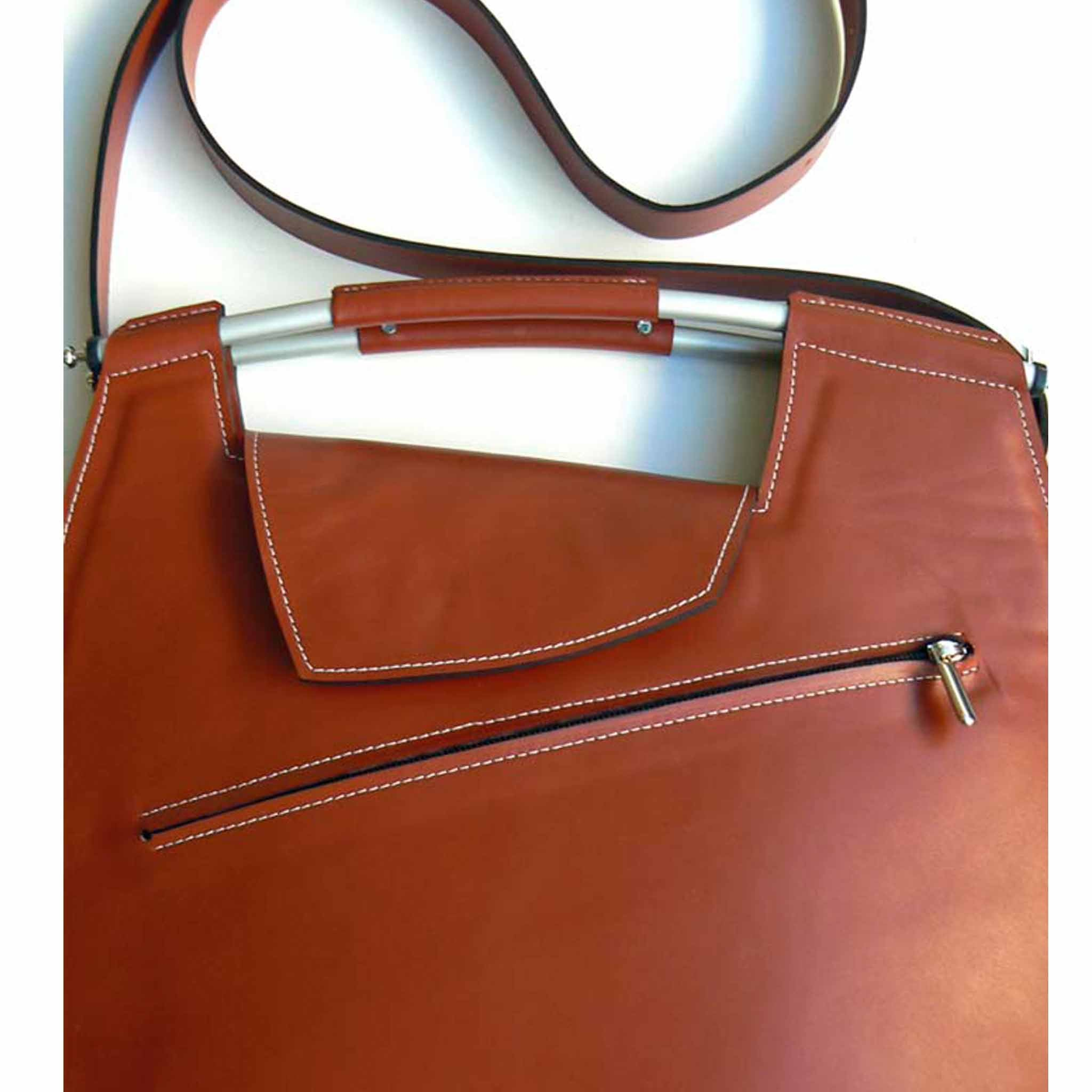 Large Shoulder Bag with Metal Handle
