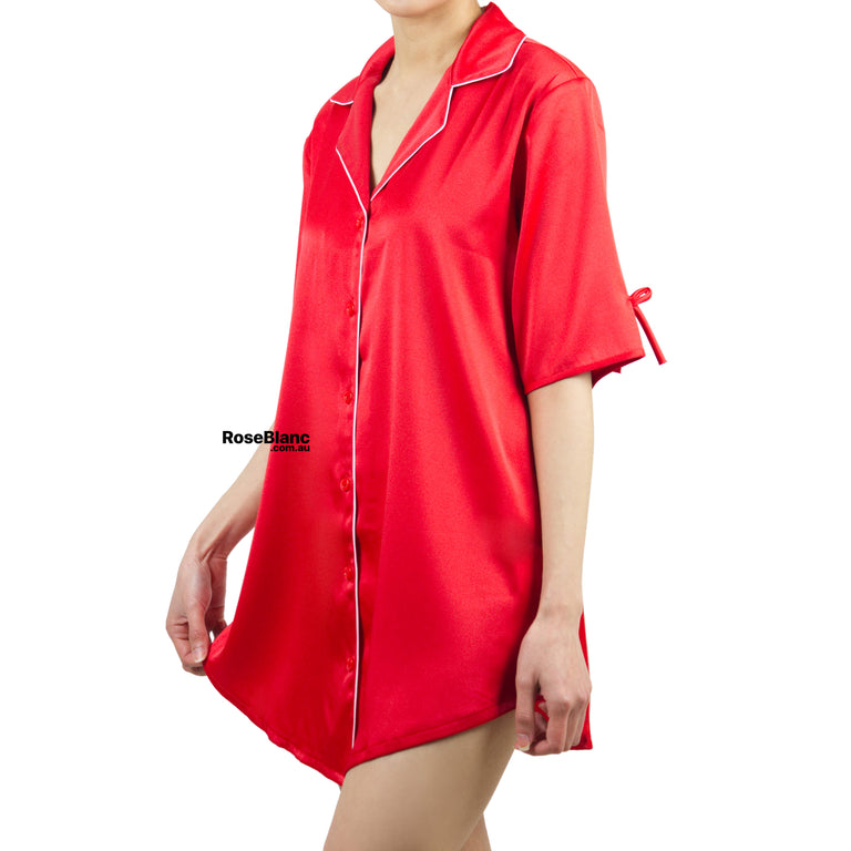 Luxe Red Silky Night Shirt