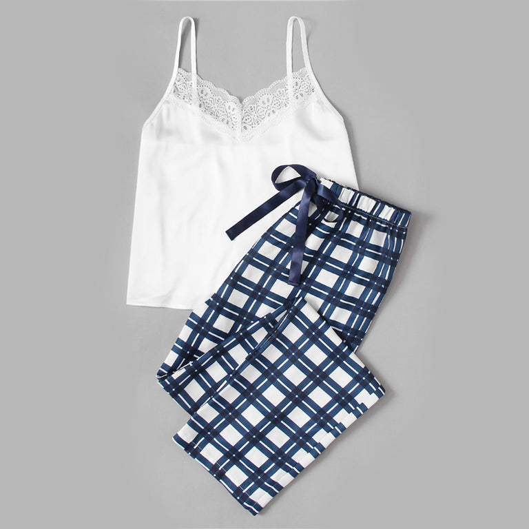 White Embellished Cami & Plaid Pants Pyjama Set