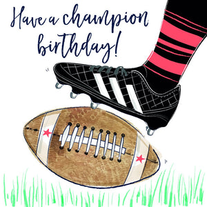 Have a Champion Birthday - Rugby Boot & Ball