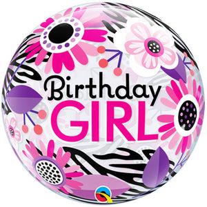 22 Inch Birthday Girl Floral Zebra Stripes Bubble Balloon