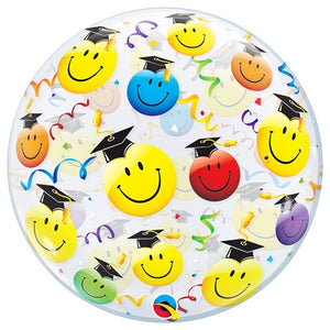 22 inch Smiley Graduation Bubble Balloon