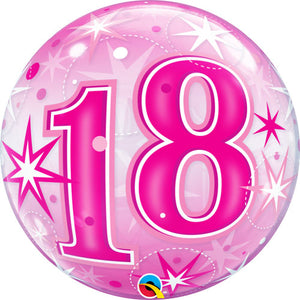 22 Inch 18 Pink Starburst Sparkle Bubble Balloon