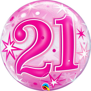 22 Inch 21 Pink Starburst Sparkle Bubble Balloon
