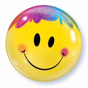 22 inch Bright Smiley Face Bubble Balloon