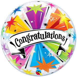 22 inch 'Congratulations' Banner Blast Bubble Balloon