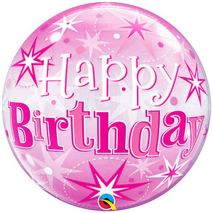 22 Inch Birthday Pink Starburst Sparkle Bubble Balloon