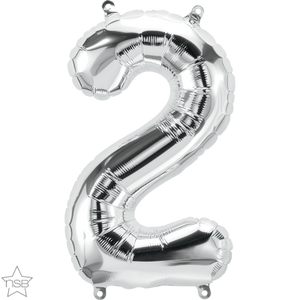 "16"" Silver Air Filled Number 2 Balloon"