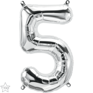 "16"" Silver Air Filled Number 5 Balloon"