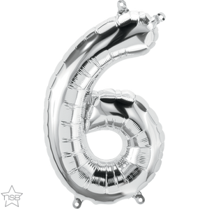 "16"" Silver Air Filled Number 6 Balloon"
