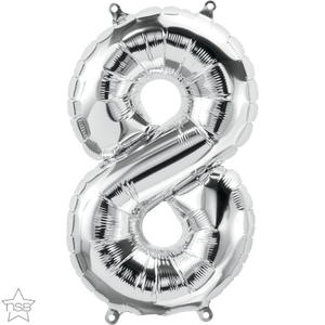 "16"" Silver Air Filled Number 8 Balloon"