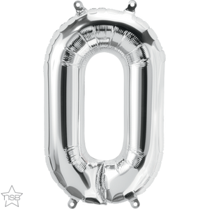 "16"" Silver Air Filled Number 0 Balloon"