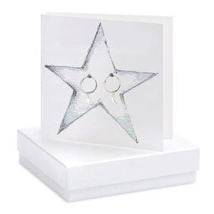Star Card with Moon & Star Hoop Earrings