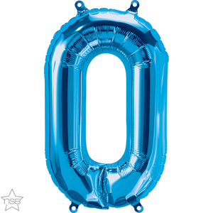 "16"" Blue Air Filled 0 Number Balloon"