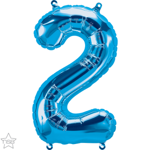 "16"" Blue Air Filled Number 2 Balloon"