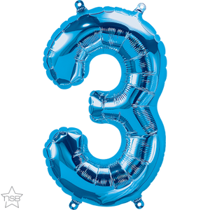 "16"" Blue Air Filled Number 3 Balloon"